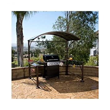 Gazebo pequeña Backyard metal curvado Hardtop parrilla Kit ...
