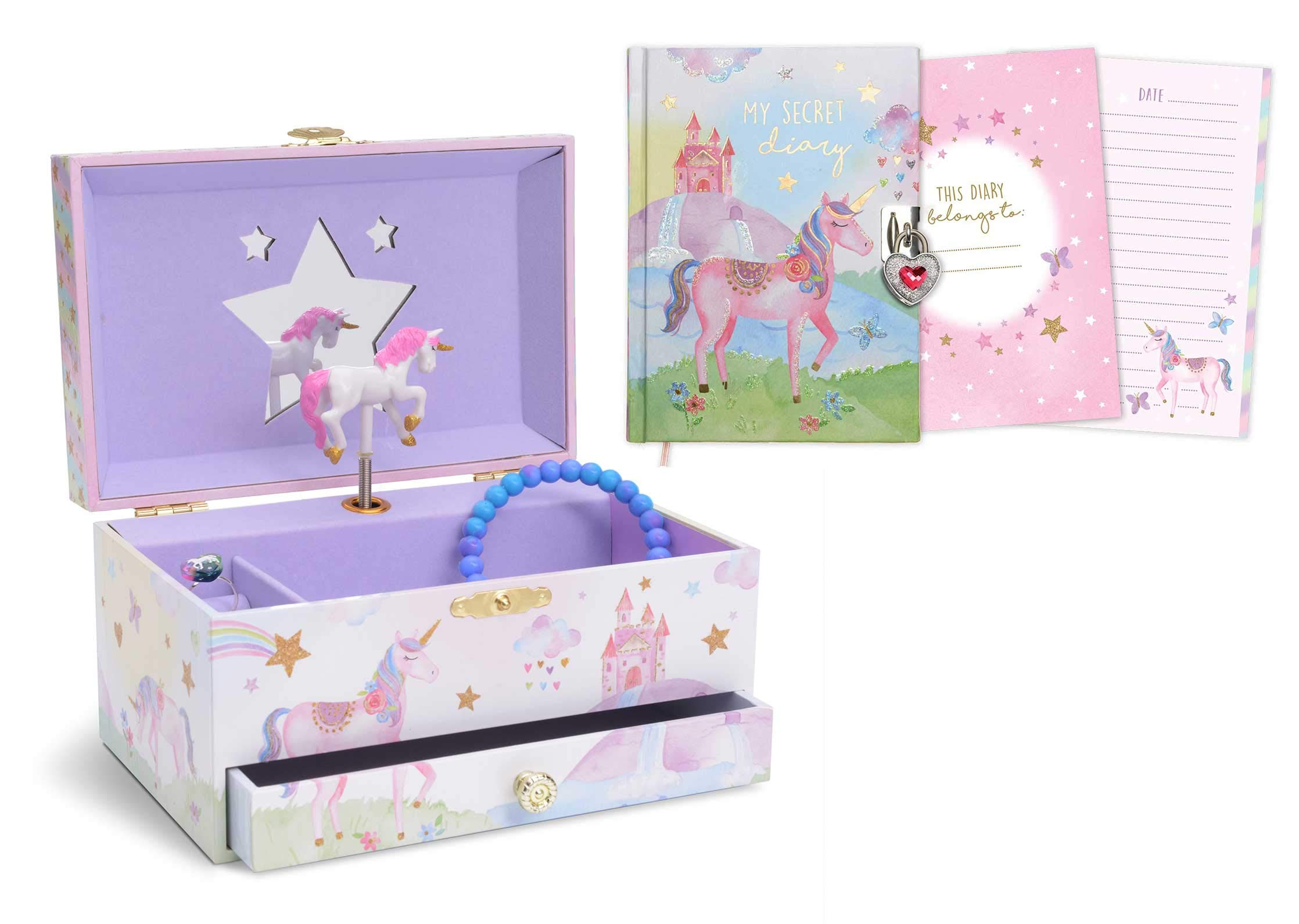 JewelKeeper Glitter Rainbow Unicorn Musical Jewelry Box with Pullout Drawer and Matching Diary with Lock and Key Gift Set