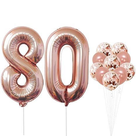 Amazon.com: Globos de oro rosa con número 80, grandes, 8 y 0 ...