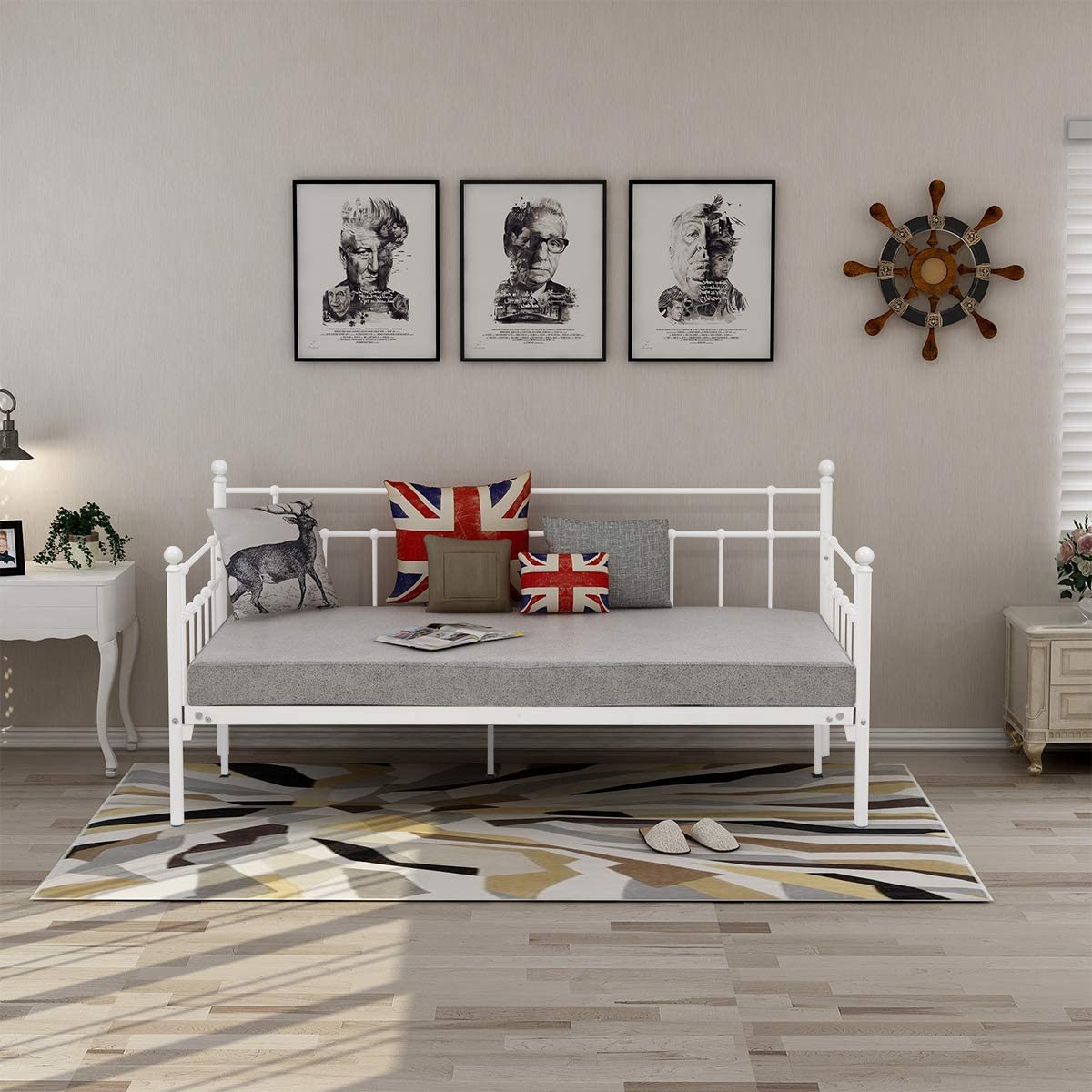 HOMERECOMMEND Metal Daybed Frame Twin Steel Slats Platform Base Box Spring Replacement Children Bed Sofa for Living Room Guest Room (Twin White Sanded)