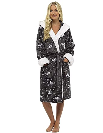 95561dc1e543e CityComfort Ladies Dressing Gown Shaggy Soft Girls Fleece Kimono Gowns Robe  Bathrobe Loungewear for her (