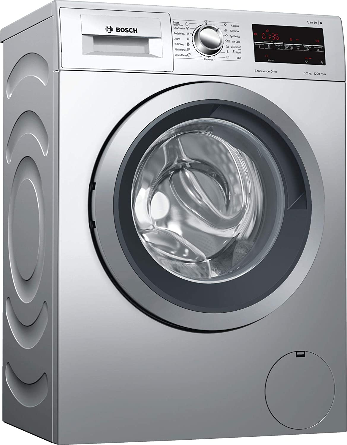 Bosch 6.2 kg Fully-Automatic Front Loading Washing Machine (WLK24268IN, Silver)