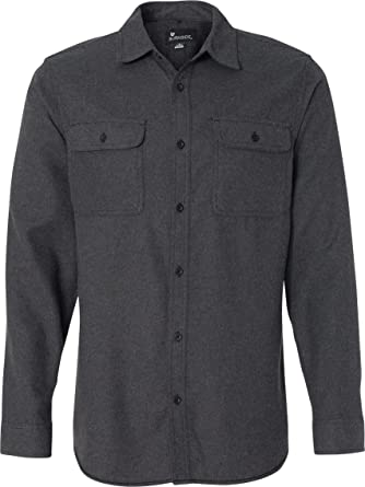 Amazon.com: Burnside Mens Long Sleeve Solid Flannel Button Down ...