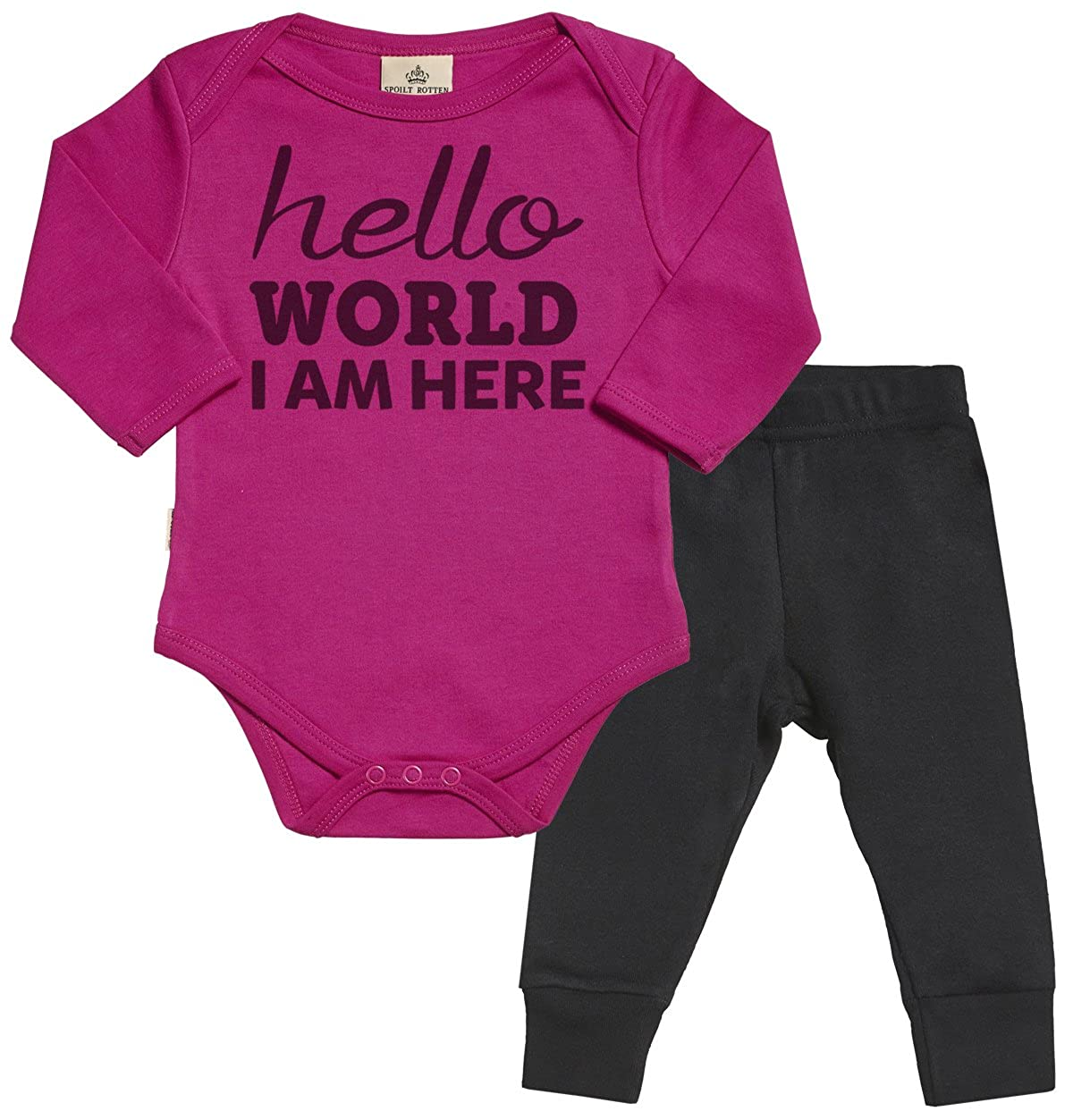 Baby Strampler /& Baby-Jerseyhose Baby Body /& Baby Hosen Babyoutfit Spoilt Rotten Hello World I Am New Here Baby Set