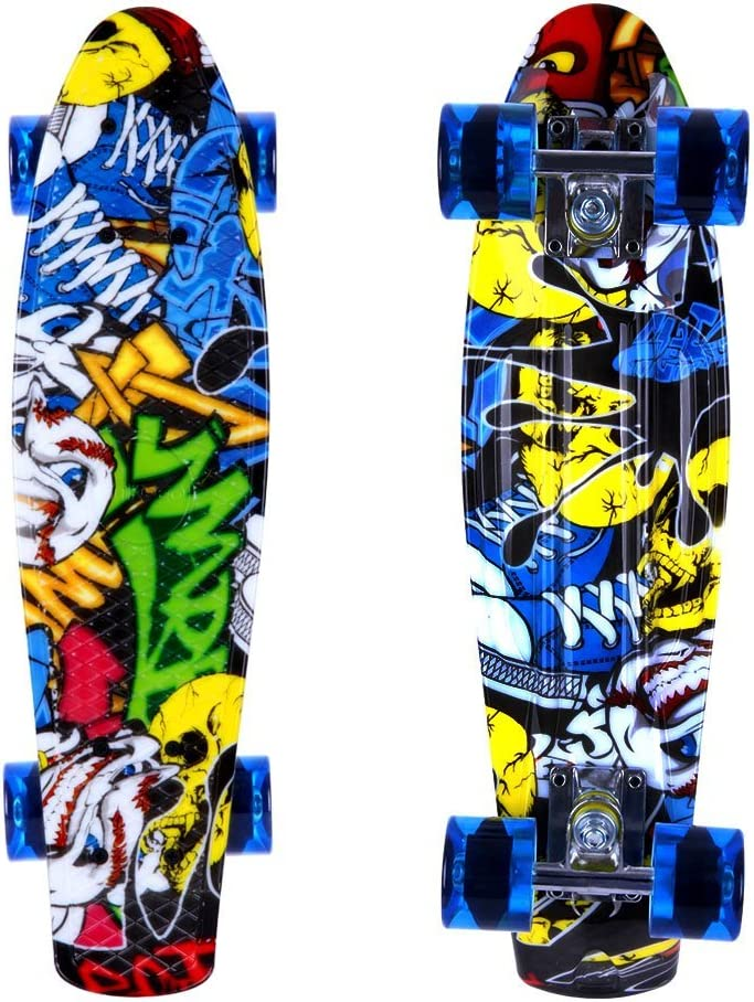 ENKEEO Skateboards 22 Inches Skateboard Complete Cruiser Plastic Banana Board with Bendable Deck / US