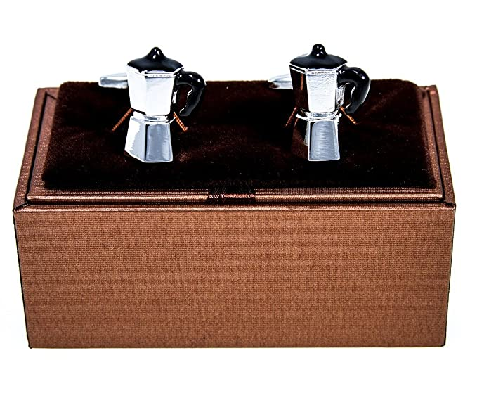 Italian Espresso Maker Pair Cufflinks in a Presentation Gift Box & Polishing Cloth