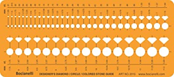 Jewellery Jewelry Art Craft Design Drawing Drafting Template Stencil - Brilliant Diamond Coloured Gemstone Guide Shapes Symbols