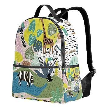 c58e0730e1e5 Zebra Tropical Backpack for Women Teen Girls Purse Fashion Bag Bookbag  Children Travel College Casual Daypack