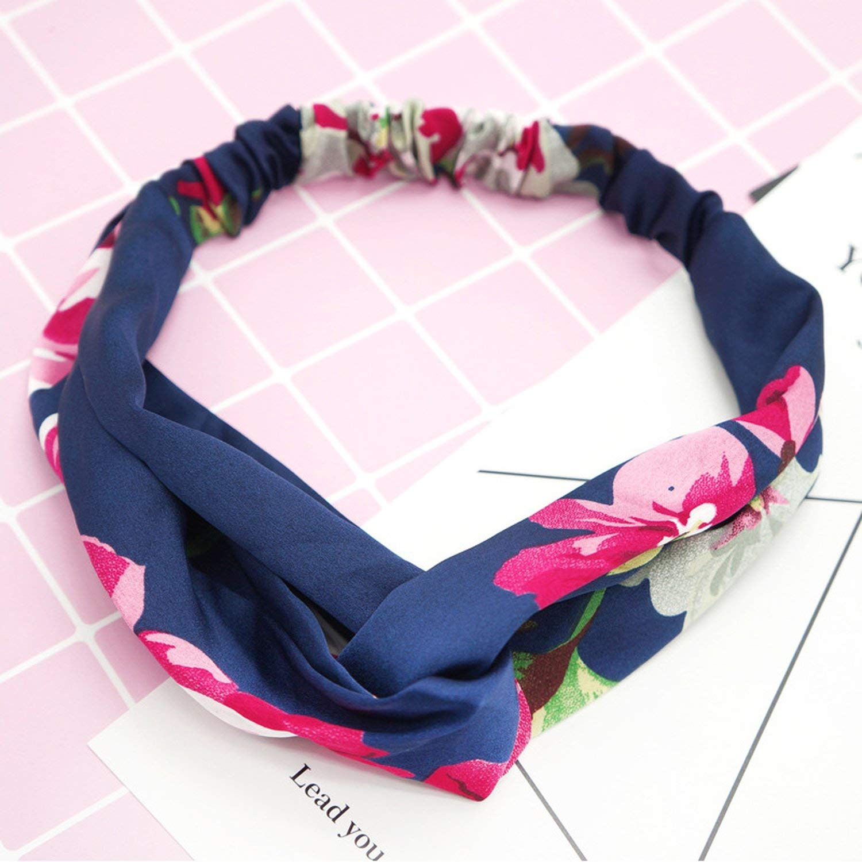 Women Girls Summer Bohemian Hair Bands Print Headbands Retro Cross Turban Bandage Bandanas HairBands Hair Accessories Headwrap,T4-Pink