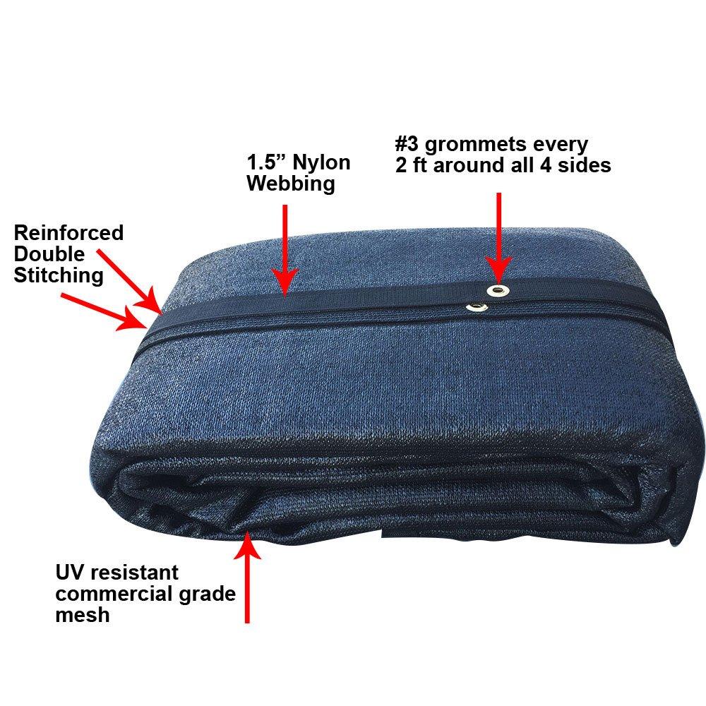 Size: 12 ft FJYW x 22 ft - 7 oz Premium 90/% Shade Cloth Shade Sail Sun Shade Black Color AMN-MS90-B1222
