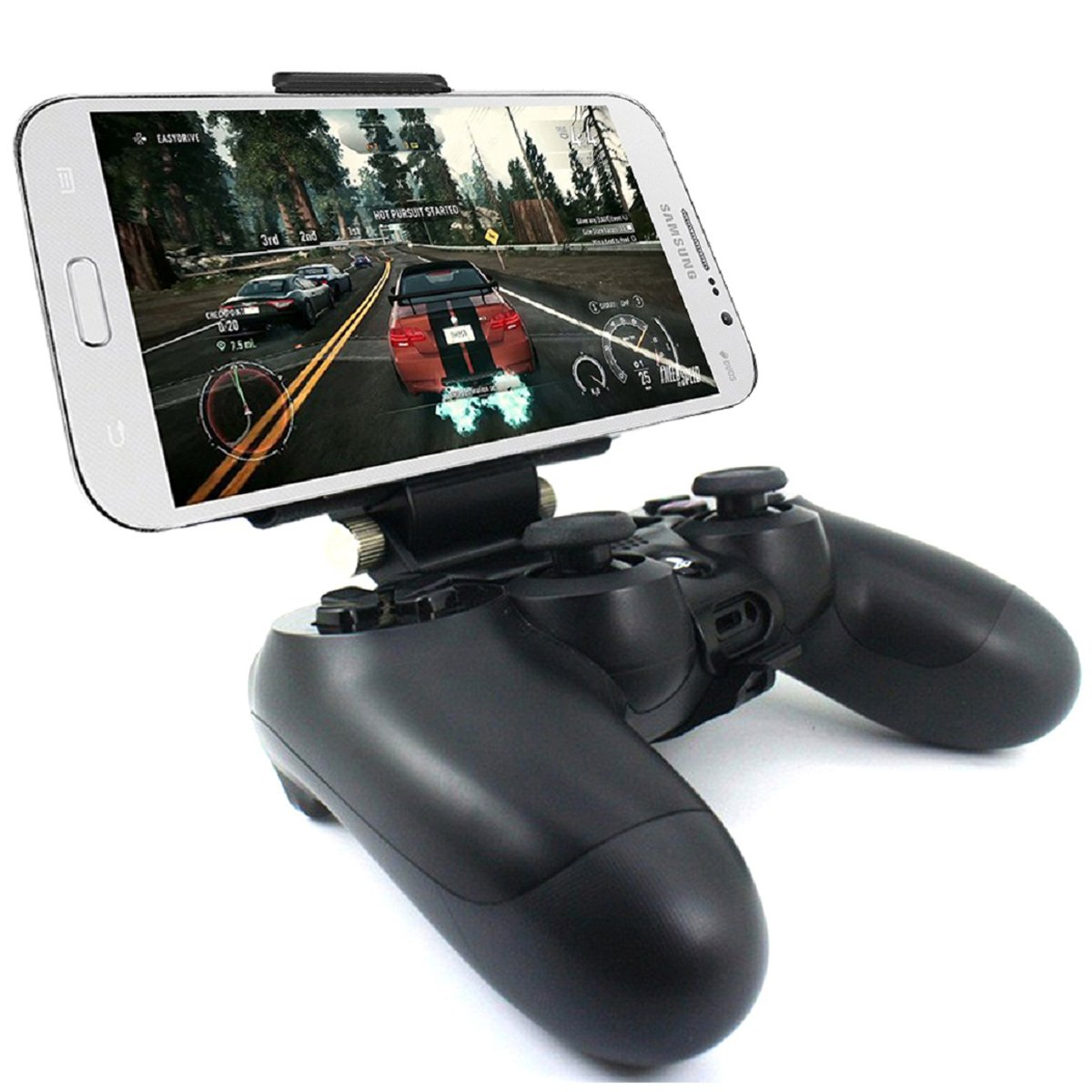 Megadream [2Nd Generation] Ps4 Controller Phone Clip Holder For Sony Playstation 4 PS4 Pro Slim, 180 Degree Adjustable Mount Stand Android Samsung Galaxy S8 S8+ S7 Edge S7 S6 Note 8 6 Maximum 7.9Inch
