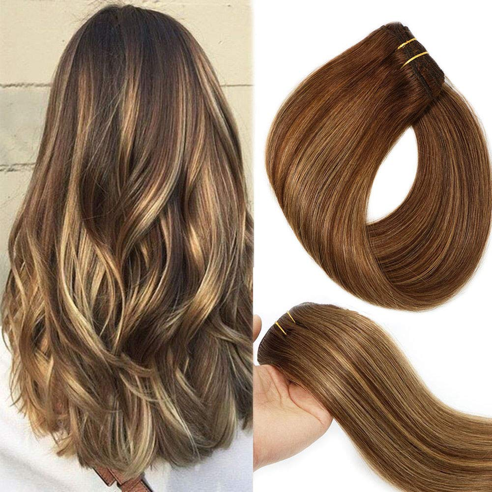 Clip In Human Hair Extensions Double Weft Brazilian Hair 120g 7pcs Chocolate Brown to Dark Blonde Highlight Chocolate Brown Full Head Silky Straight 100% Human Hair Clip In Extensions 18 Inch by VARIO