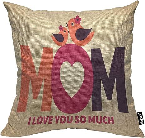 Amazon Com Mugod Birds Throw Pillow Case Mom Bird And Little Bird Flower I Love You So Much Pink Purple Cotton Linen Square Cushion Covers Standard Pillowcase Couch Sofa Bed Men Women Boys Girls Room 18x18
