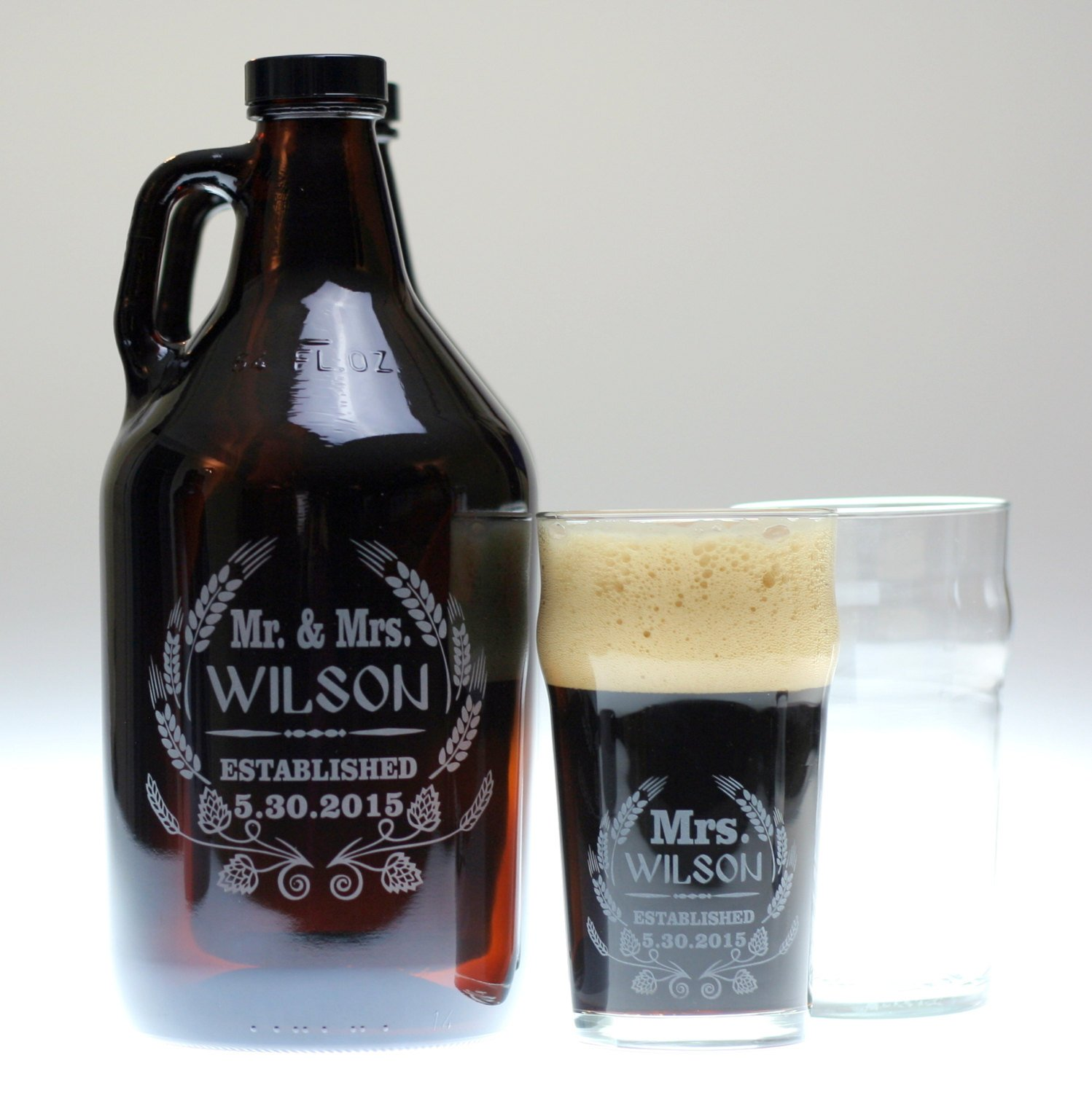 Personalized Engraved Beer Growler and Glass Etched with Modern Hop Wheat Art | Custom Wedding Gift