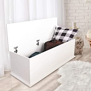 """KD ModySimble White Storage Trunk Box, Modern Wood Chest with Lift Top, Organizer Bench for Entryway Bedroom Storage Room Home Furniture, 39""""x16""""x16"""""""