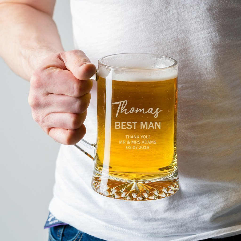 Personalised Pint Glass Tankardbest Man Giftgroomsmenusher