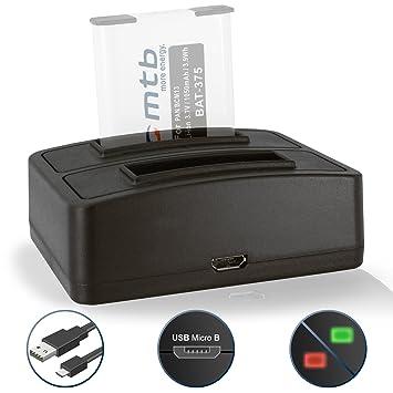 Cargador doble (USB) para Panasonic Lumix DMC-FT5, LZ40, TS5, TS6 / DMC-TZ55, TZ56, TZ58, TZ60, TZ61, TZ70, TZ71… - ver lista de compatibilidad!
