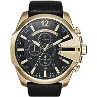 Diesel Men's DZ4344 Mega Chief Gold Black Leather Watch