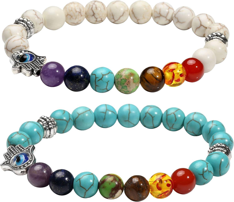 MILAKOO 8mm Evil Eye Bracelet Lava Stone Beads Essential Oil Diffuser Bracelet for Men Women