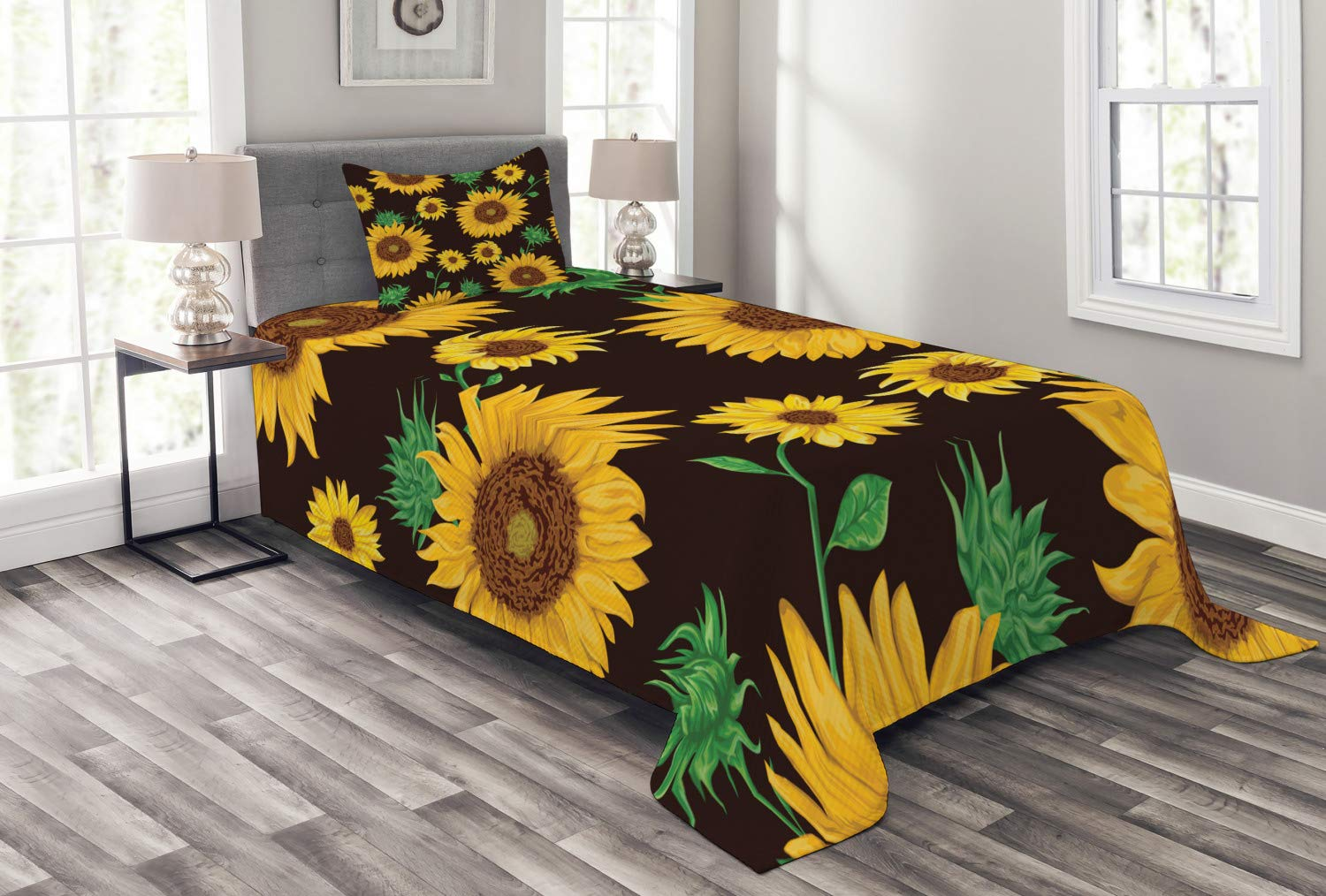 Lunarable Sunflower Bedspread, Earth Tones Floral Buds Leaves Spring Nature Vintage Pattern, Decorative Quilted 2 Piece Coverlet Set with Pillow Sham, Twin Size, Yellow Green