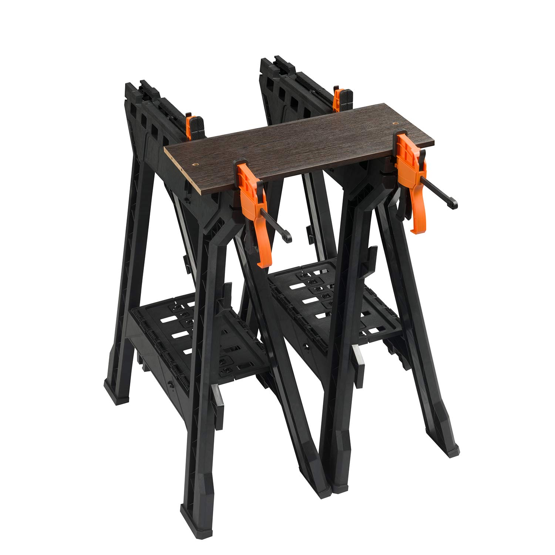 Clamping Folding Sawhorses,with Bar Clamps,4 Sawbucks, 1000 lb Capacity, 2 Pack