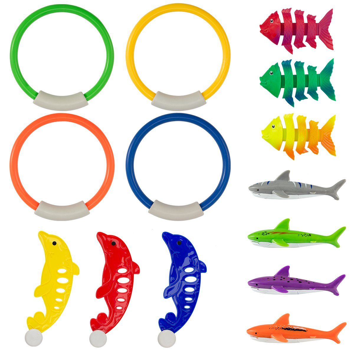 PAMASE Swimming Diving Toys Pool Fun Rings for Kids - Pool Diving Game Toys Set in Total 14 Pcs Including 4 Diving Rings, 4 Diving Shark Toys, 3 Tropical Fish Toys and 3 Dolphin Toys by PAMASE