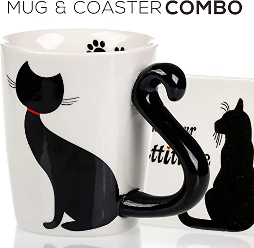 Cat Cup and Coaster Single or Set 3 Designs Available Birthday Work Gift Cup Mug