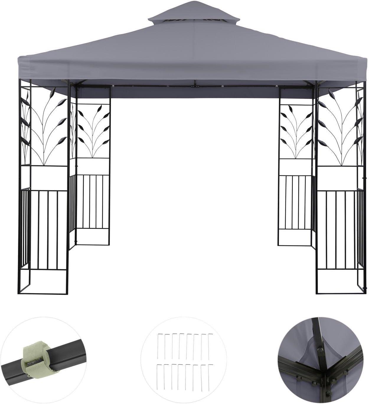 blumfeldt Odeon Grey Pavillon Carpa para Fiestas y jardín (3x3m,dieseño Decorativo, película Protectora, Resistente a Intemperie) - Gris Oscuro