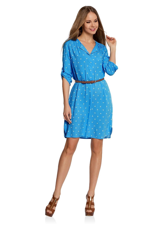 oodji Ultra Damen Viskose-Kleid mit Gürtel