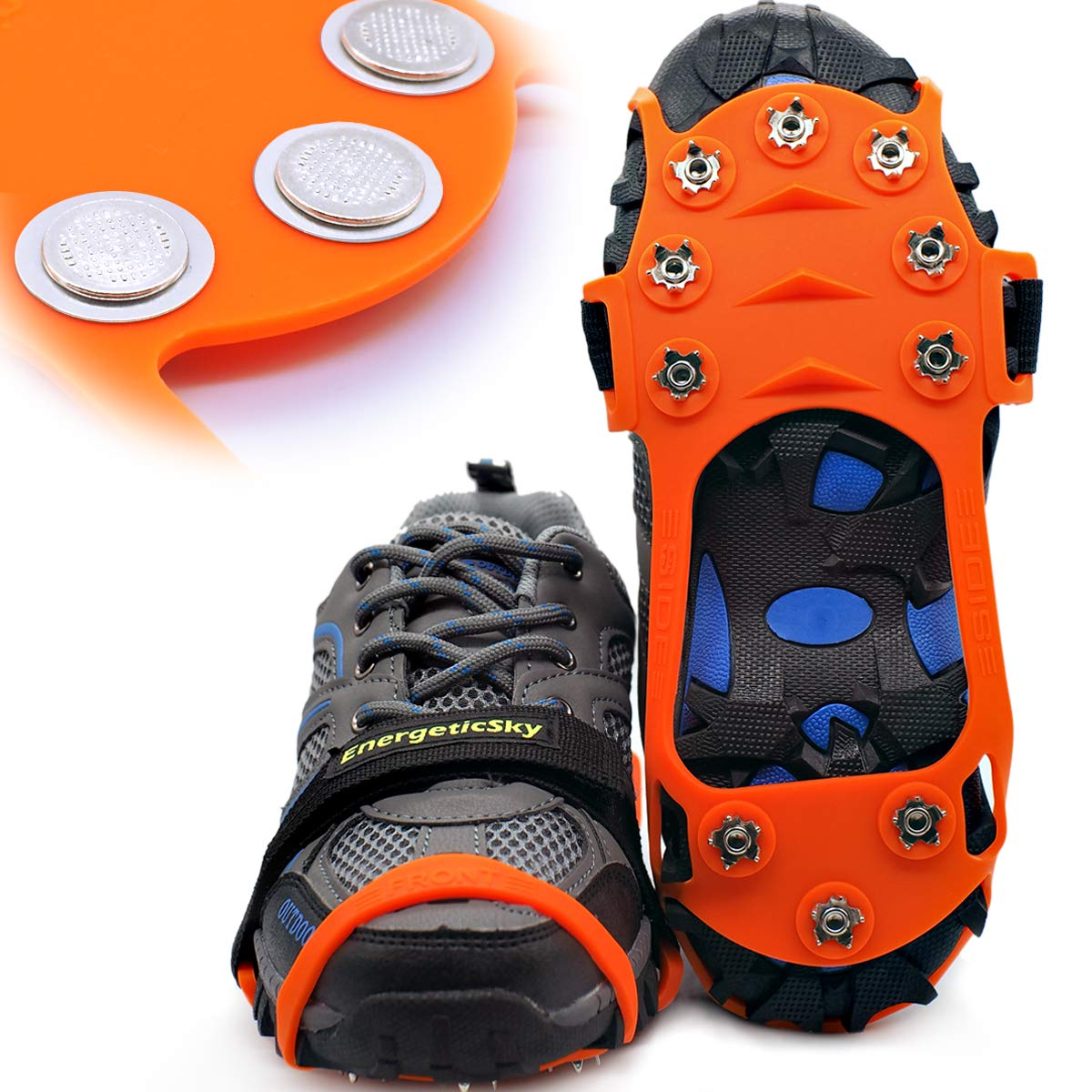 Songwin Glace Traction Crampons Antidérapant sur Chaussures/Bottes 10 Clous à Neige Grips Crampons Crampons Pointes, Le Seul Design innovant sur .