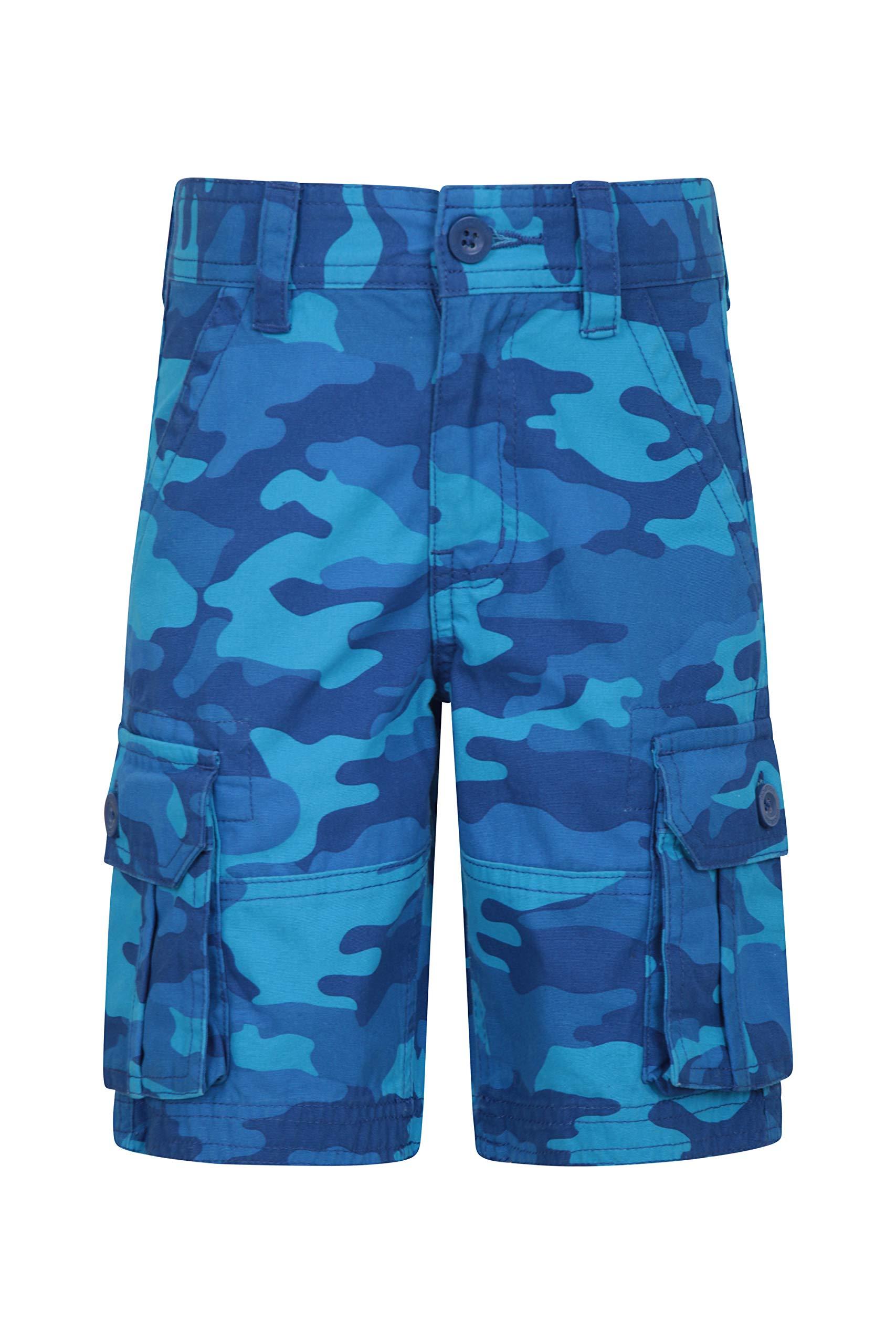 Mountain Warehouse Kids Camo Cargo Shorts - 100% Cotton Summer Pants Blue 11-12 Years by Mountain Warehouse