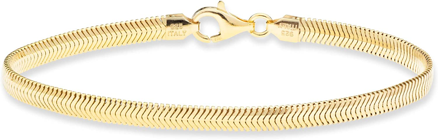 Miabella 18K Gold Over Sterling Silver Italian Solid 4mm Diamond-Cut Flat Snake Dome Herringbone Chain Link Bracelet for Women Men 6.5, 7, 7.5, 8, 8.5 Inch Made in Italy