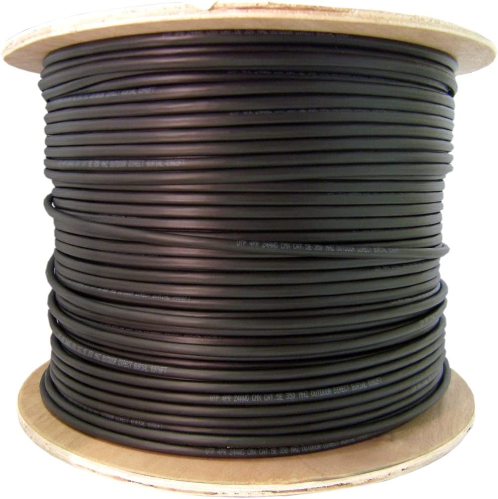 Spool Solid 24AWG Bulk Shielded Cat5e 1000-Foot Black Ethernet Cable CNE42494 CMXT STP Foil Plus Waterproof Tape
