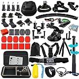Husiwayアクセサリーキット for ゴープロ Gopro Hero 5 session セッション、Hero 6 Black、Xiaomi Yi 4K、Xiaoyi、Sony Campark アクセサリーバンドルEVAキャリーケース、for Go Pro 5、4、6、SJCAM、Eken スポーツアクションカメラ (13L0)