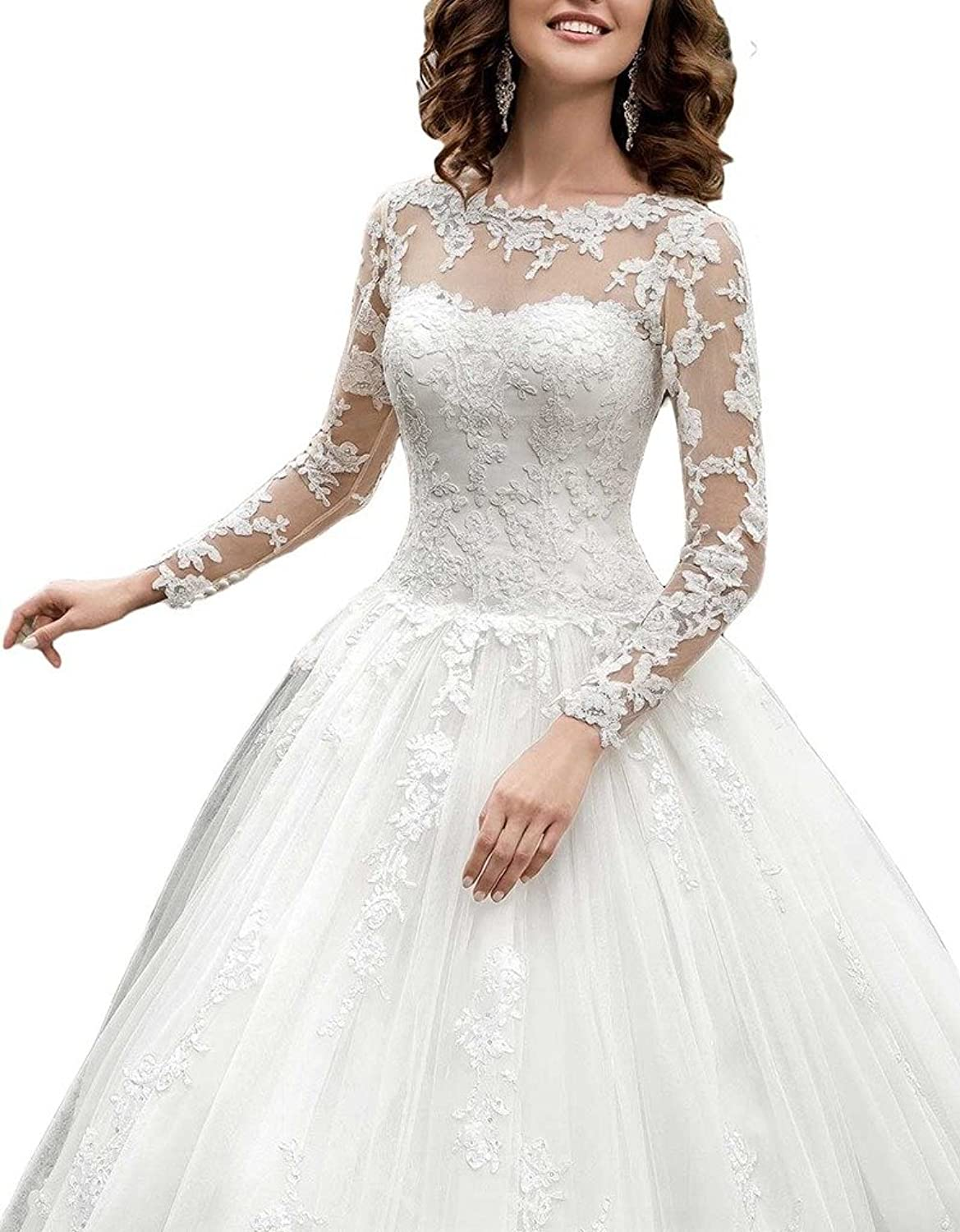 Cardol Women\'s 2017 Long Sleeves Lace Ball Gown Wedding Dresses for ...