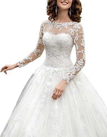 Cardol Womens 2017 Long Sleeves Lace Ball Gown Wedding Dresses For Bride