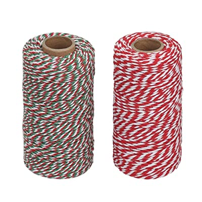 Tenn Well Cotton Bakers Twine, 2 Rolls 656 Feet 2mm Cotton Twine String for Gift Wrapping DIY Crafts Christmas Party Decorations (328 Feet/Roll) : Office Products