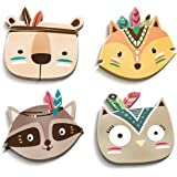 luvel® (M2) - 4er-Set Süße, Bunte Indianer Tierköpfe in 3D-EFFEKT 18 x 17 cm als Wandtattoo Kinderzimmer und Kinderzimmer Deko - 10mm Kunststoff