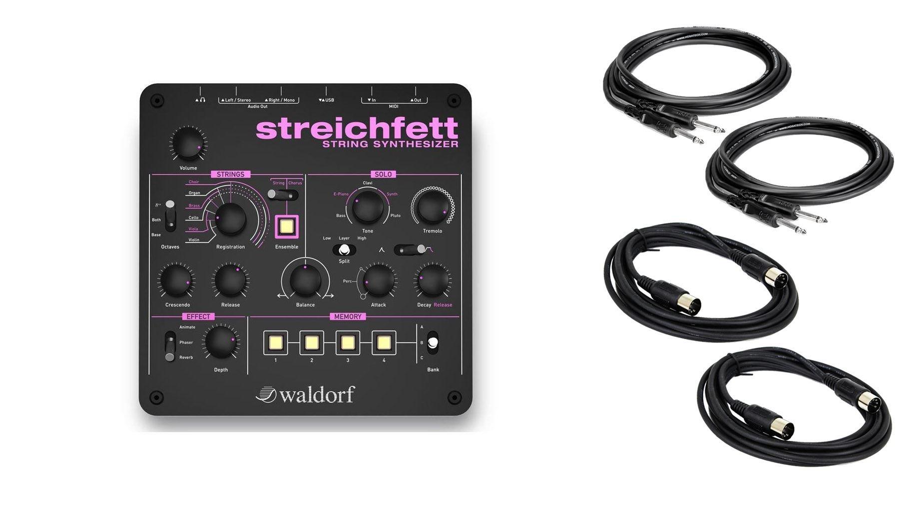 Waldorf Streichfett w/ 2 Instrument & 2 MIDI Cables Bundle