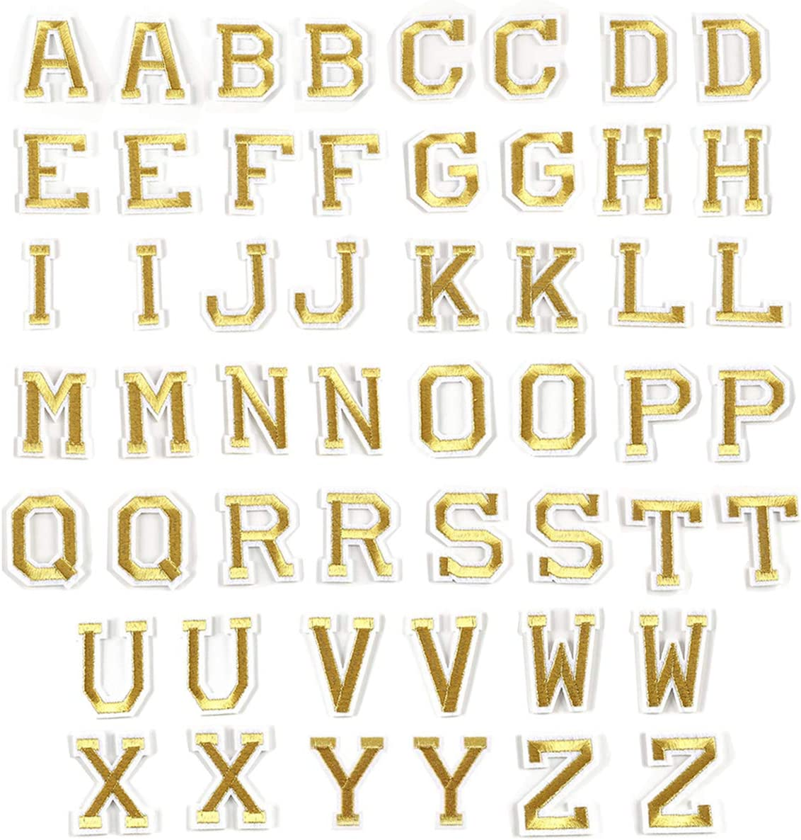 52 Pcs Gold Letter Patches Iron On Appliques A-Z Alphabet Sew On Badges DIY Name Project Crafts with Bright Gold Embroidery Fabric White Border Back Adhesive Decoration Accessories for Bags, Jackets