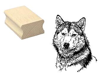 Stempel Holzstempel Motivstempel Wolf Kopf Scrapbooking Embossing Basteln Zoo Tierpark Gothic