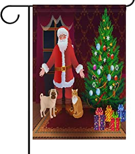 N\ A Garden Flag 12 x 18 Double Sided Santa Claus Dog Cat Christmas Tree Gift Decorative House Yard Flags for Outside Outdoor Welcome Home Decor Banner Stand Size 12x18 inches