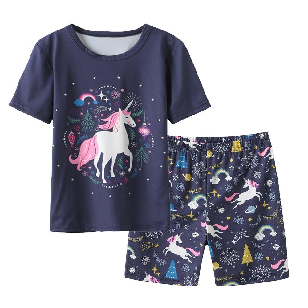 MyFav Big Girls' Summer Pajama Sets Cute Horse Sleepwears Cartoon Children PJS