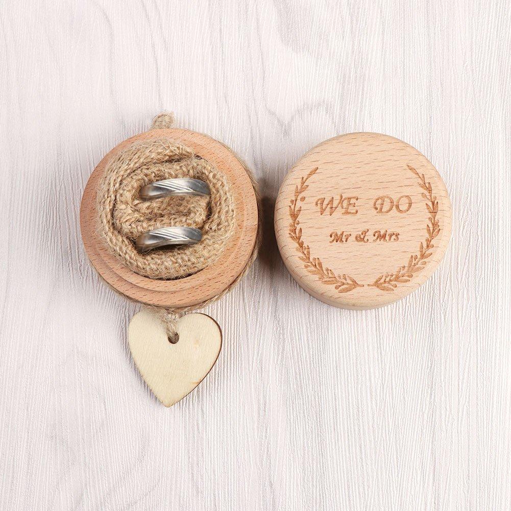 Aytai Bo/îte /à alliances rustique en bois avec /étiquette en forme de c/œur