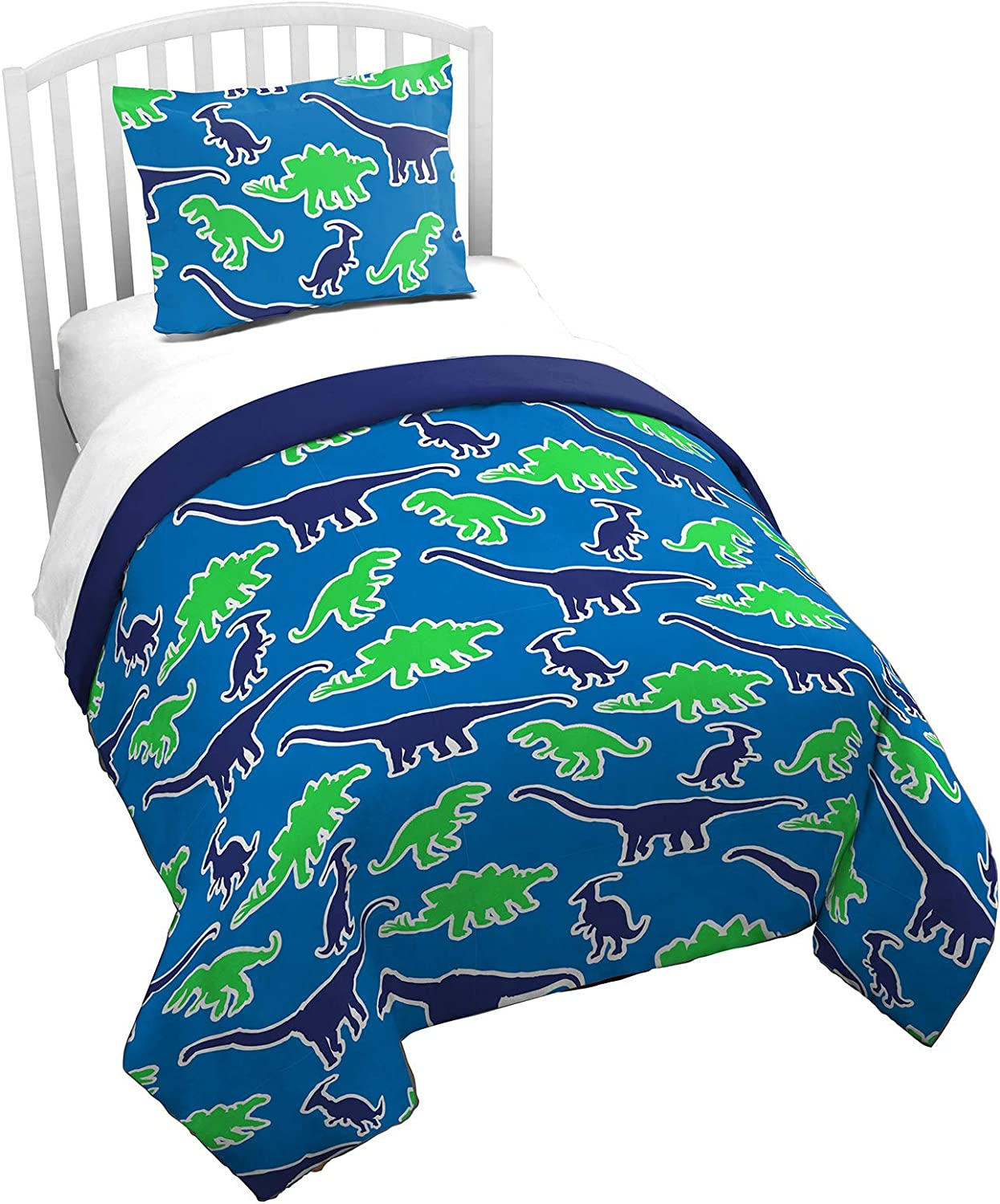 Jay Franco Trend Collector Dino Glow in The Dark Twin Comforter & Sham Set - Super Soft Kids Bedding Features Dinosaurs - Fade Resistant Microfiber