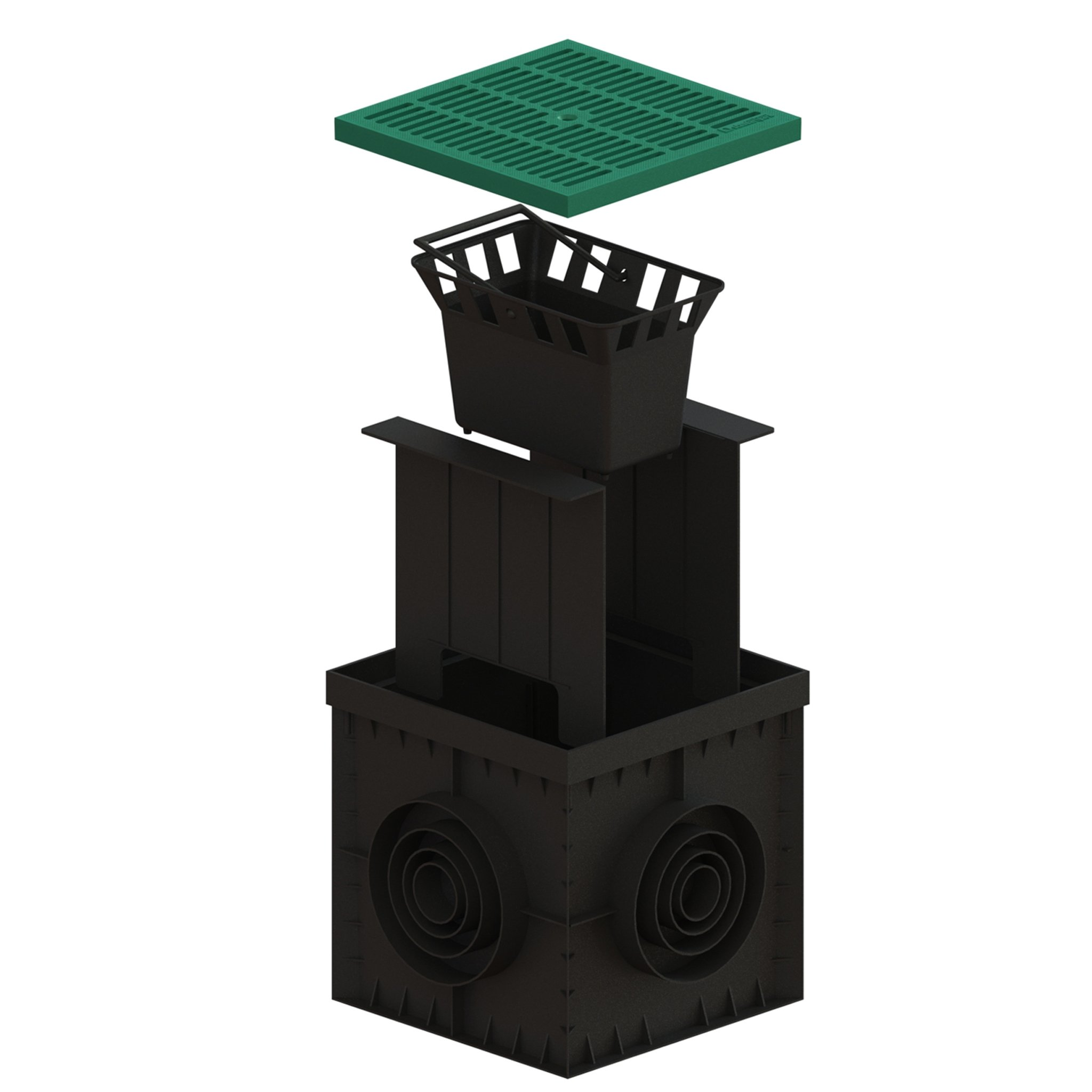 Standartpark - 12x12 Catch Basin Green grate package with debris basket and partitions included!