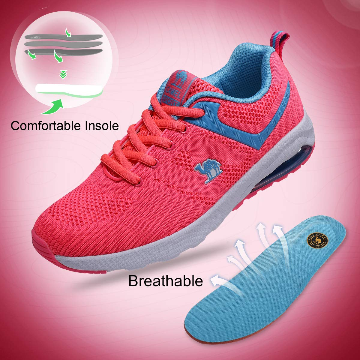 Camel Athletic Shoes Women Trail Running Breathable Lightweight Sports Shoes Walking Gym Training