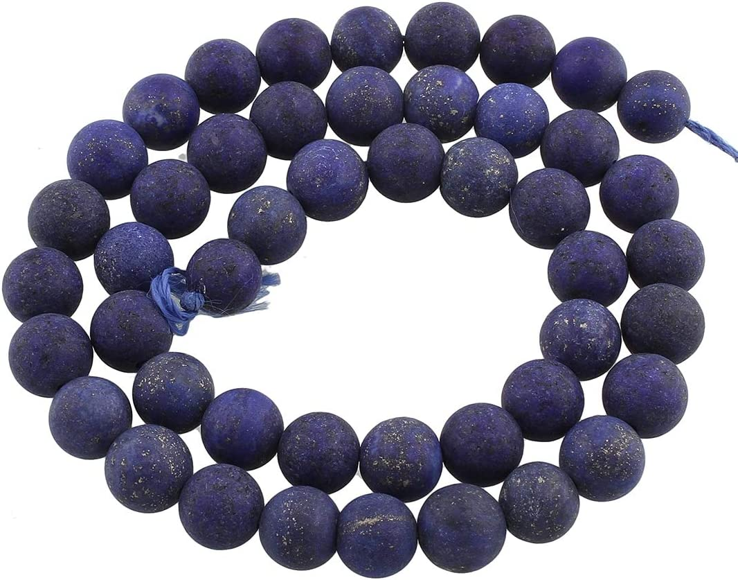 Perlin – lapislázuli Piedras Preciosas Perlas lapislázuli 6 mm Mate Esmerilado Azul Redondo Perla Collar Piedra Joyas Piedra Piedra
