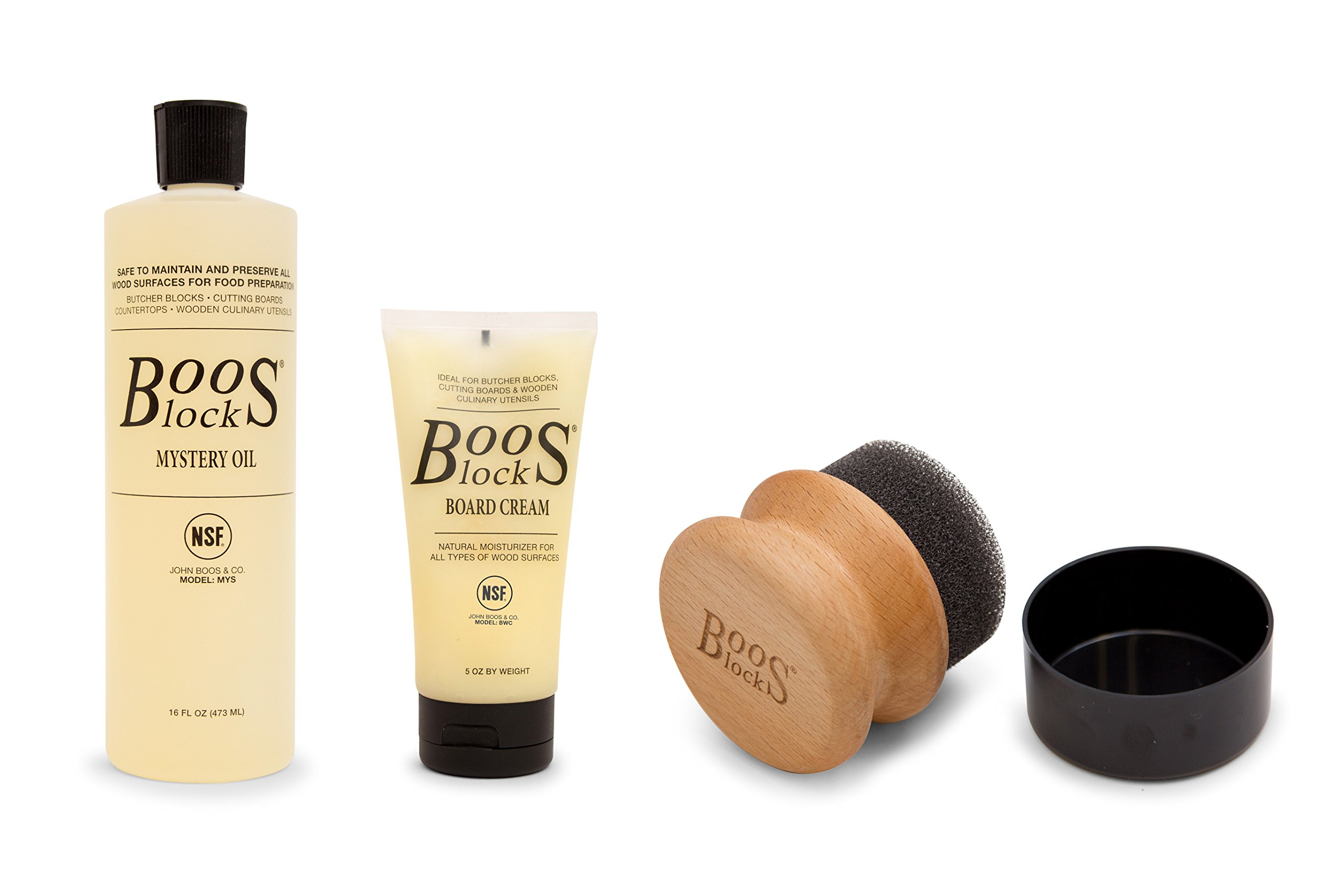 John Boos Cutting Board Care and Maintenance Set: Includes One 16 Ounce Bottle Mystery Oil, One 5 Ounce bottle Board Cream and One Round Applicator