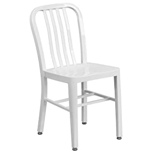Flash Furniture White Metal Indoor-Outdoor Chair